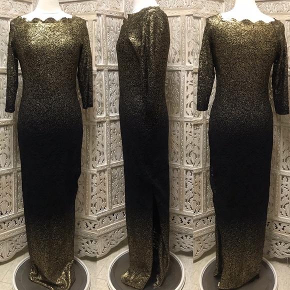 a25b06c9 Nordstrom Marina Gold Foil Ombre Maxi Dress Gown. M_5c1831f5a31c33c6c20da652